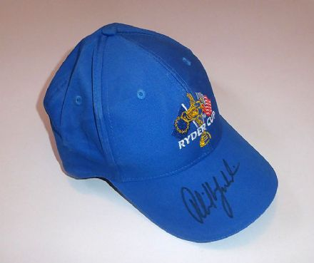 Phil Mickelson signed Ryder Cup golf cap.